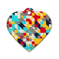 Colorful shapes Dog Tag Heart (Two Sides) by LalyLauraFLM