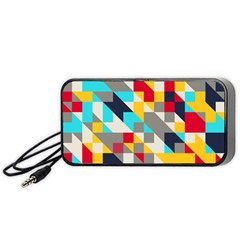 Colorful shapes Portable Speaker (Black) by LalyLauraFLM