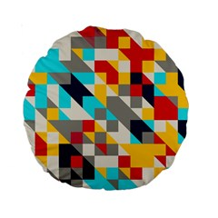 Colorful Shapes Standard 15  Premium Round Cushion  by LalyLauraFLM