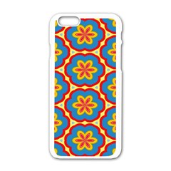 Floral Pattern Apple Iphone 6 White Enamel Case by LalyLauraFLM