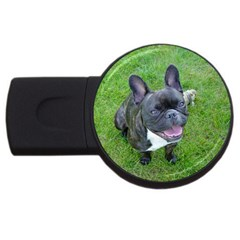 Sitting 2 French Bulldog 2GB USB Flash Drive (Round) by TailWags