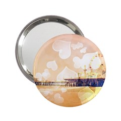 Bokeh Hearts Santa Monica Pier Handbag Mirror (2.25 ) by stineshop