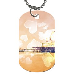 Bokeh Hearts Santa Monica Pier Dog Tag (two Sided)  by stineshop