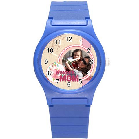 Mothers Day By Mom   Round Plastic Sport Watch (s)   4bkw0g9oglrb   Www Artscow Com Front
