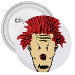 Evil Clown Hand Draw Illustration 3  Button by dflcprints