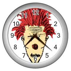 Evil Clown Hand Draw Illustration Wall Clock (silver) by dflcprints
