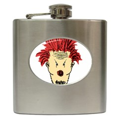Evil Clown Hand Draw Illustration Hip Flask by dflcprints