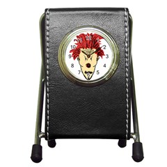 Evil Clown Hand Draw Illustration Stationery Holder Clock by dflcprints