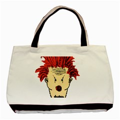 Evil Clown Hand Draw Illustration Twin Sided Black Tote Bag by dflcprints