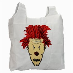 Evil Clown Hand Draw Illustration White Reusable Bag (two Sides) by dflcprints