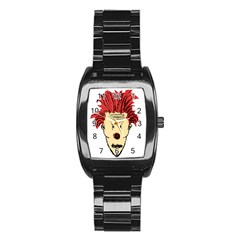 Evil Clown Hand Draw Illustration Stainless Steel Barrel Watch by dflcprints