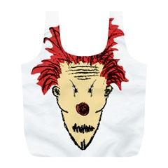 Evil Clown Hand Draw Illustration Reusable Bag (l) by dflcprints