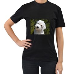 Old English Sheep Dog Pup Women s Two Sided T-shirt (Black) by TailWags