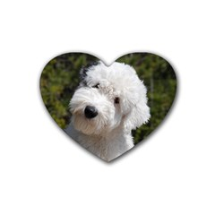 Old English Sheep Dog Pup Drink Coasters (Heart) by TailWags