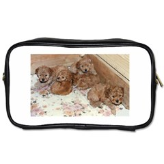 Apricot Poodle Pups Travel Toiletry Bag (One Side) by TailWags