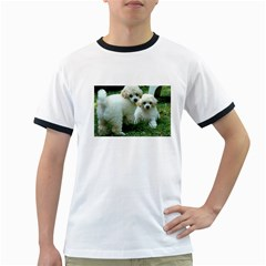 White 2 Poodle Pups Men s Ringer T-shirt by TailWags