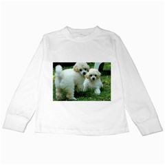 White 2 Poodle Pups Kids Long Sleeve T-Shirt by TailWags