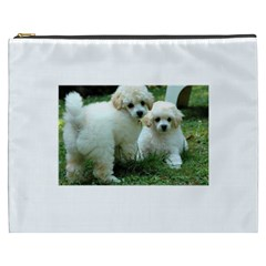 White 2 Poodle Pups Cosmetic Bag (XXXL) by TailWags
