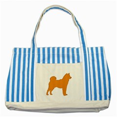 Shiba Inu Silo Color Blue Striped Tote Bag by TailWags