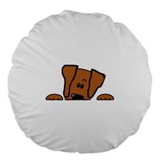 Peeping Vizsla Large 18  Premium Flano Round Cushion