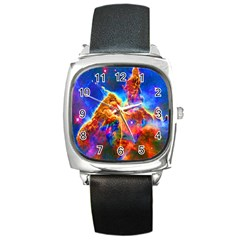 Cosmic Mind Square Leather Watch by icarusismartdesigns