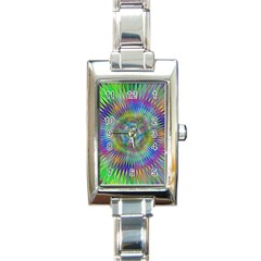 Hypnotic Star Burst Fractal Rectangular Italian Charm Watch by StuffOrSomething