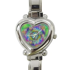 Hypnotic Star Burst Fractal Heart Italian Charm Watch  by StuffOrSomething