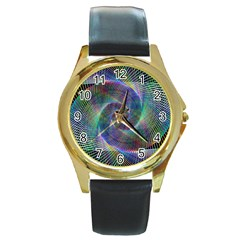 Psychedelic Spiral Round Leather Watch (gold Rim)  by StuffOrSomething