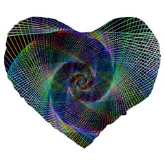 Psychedelic Spiral Large 19  Premium Heart Shape Cushion by StuffOrSomething