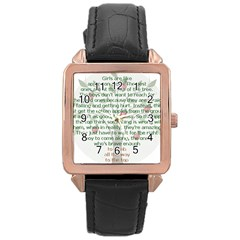 Girls Are Like Apples Rose Gold Leather Watch