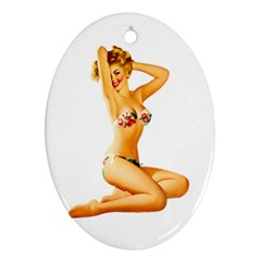 Sexy Bikini Pinup Oval Ornament by TheWowFactor