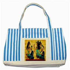 Egyptian Queens Blue Striped Tote Bag by TheWowFactor