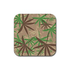 Leaves Rubber Square Coaster (4 Pack) by LalyLauraFLM