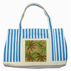 Leaves Striped Blue Tote Bag by LalyLauraFLM