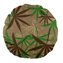 Leaves Large 18  Premium Round Cushion  by LalyLauraFLM