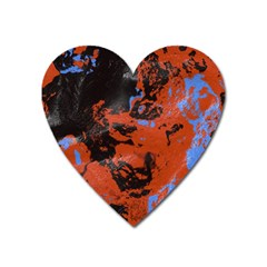 Orange Blue Black Texture Magnet (heart) by LalyLauraFLM