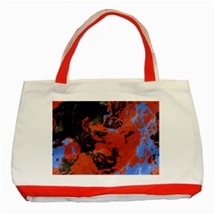 Orange Blue Black Texture Classic Tote Bag (red) by LalyLauraFLM