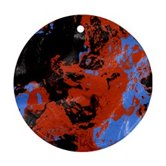 Orange Blue Black Texture Round Ornament (two Sides) by LalyLauraFLM