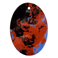 Orange Blue Black Texture Oval Ornament (two Sides) by LalyLauraFLM