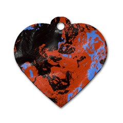 Orange Blue Black Texture Dog Tag Heart (one Side) by LalyLauraFLM