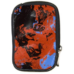 Orange Blue Black Texture Compact Camera Leather Case by LalyLauraFLM