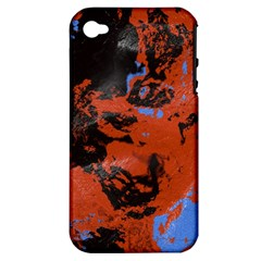 Orange Blue Black Texture Apple Iphone 4/4s Hardshell Case (pc+silicone) by LalyLauraFLM