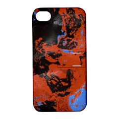 Orange Blue Black Texture Apple Iphone 4/4s Hardshell Case With Stand by LalyLauraFLM