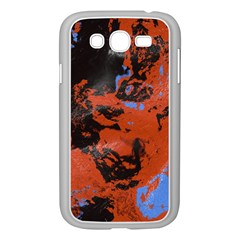 Orange Blue Black Texture Samsung Galaxy Grand Duos I9082 Case (white) by LalyLauraFLM