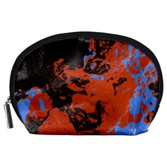 Orange Blue Black Texture Accessory Pouch by LalyLauraFLM