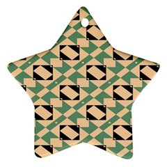 Brown Green Rectangles Pattern Ornament (star) by LalyLauraFLM