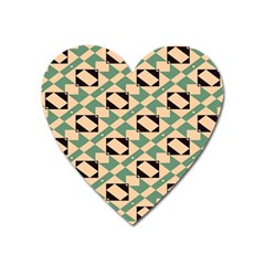 Brown Green Rectangles Pattern Magnet (heart) by LalyLauraFLM