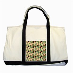 Brown Green Rectangles Pattern Two Tone Tote Bag by LalyLauraFLM