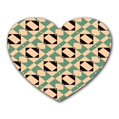 Brown Green Rectangles Pattern Heart Mousepad by LalyLauraFLM