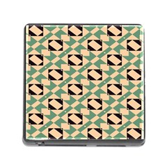 Brown Green Rectangles Pattern Memory Card Reader With Storage (square) by LalyLauraFLM